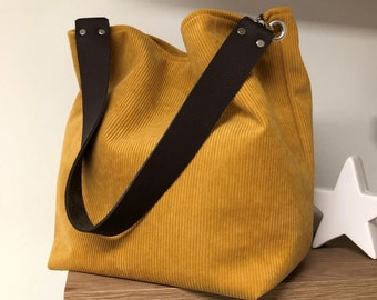 Women's hobo bag, mustard yellow and brown leather handle / Tote bag, ochre corduroy, removable leather handle / Shoulder bag, sportswear