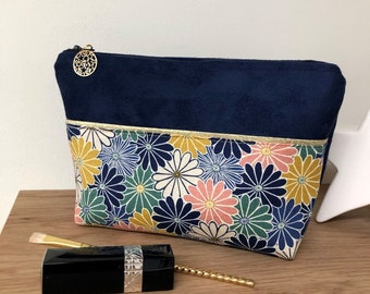 Make-up bag in Kiku flowered japanese fabric and suede / Navy blue bag, multicolored flowers, golden border / Customisable women's gift