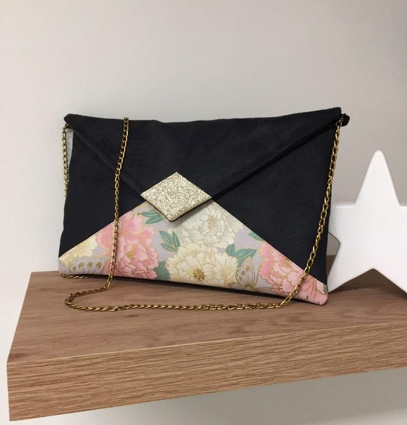 Black pink customizable wedding bag golden removable chain image 0