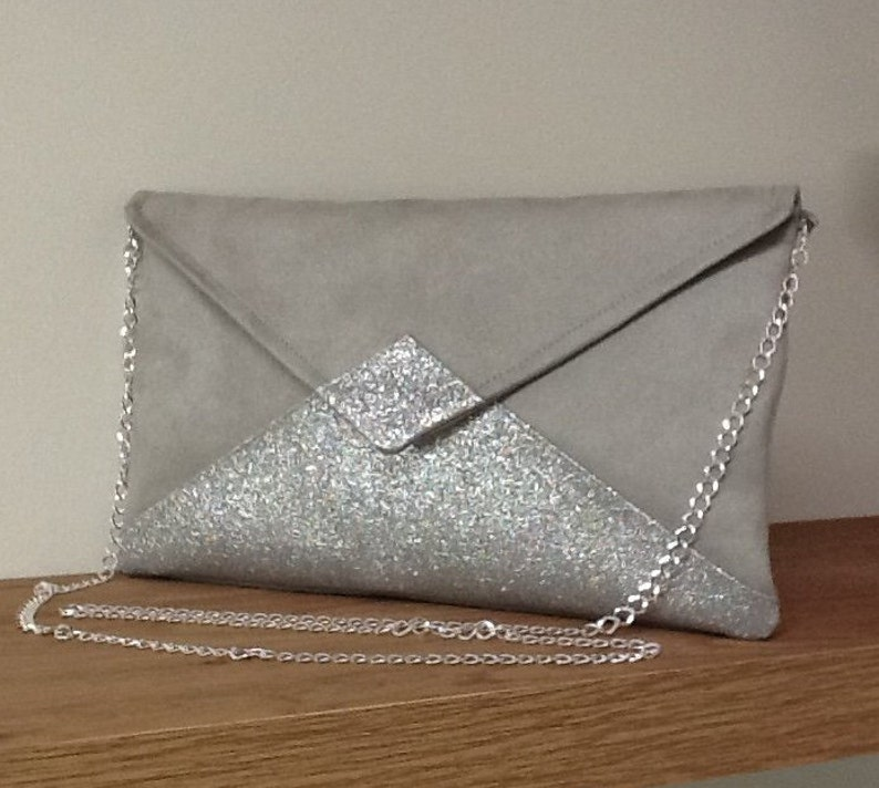 ffb3c874044 Pearl gray wedding clutch bag in suede with silver sequins / | Etsy