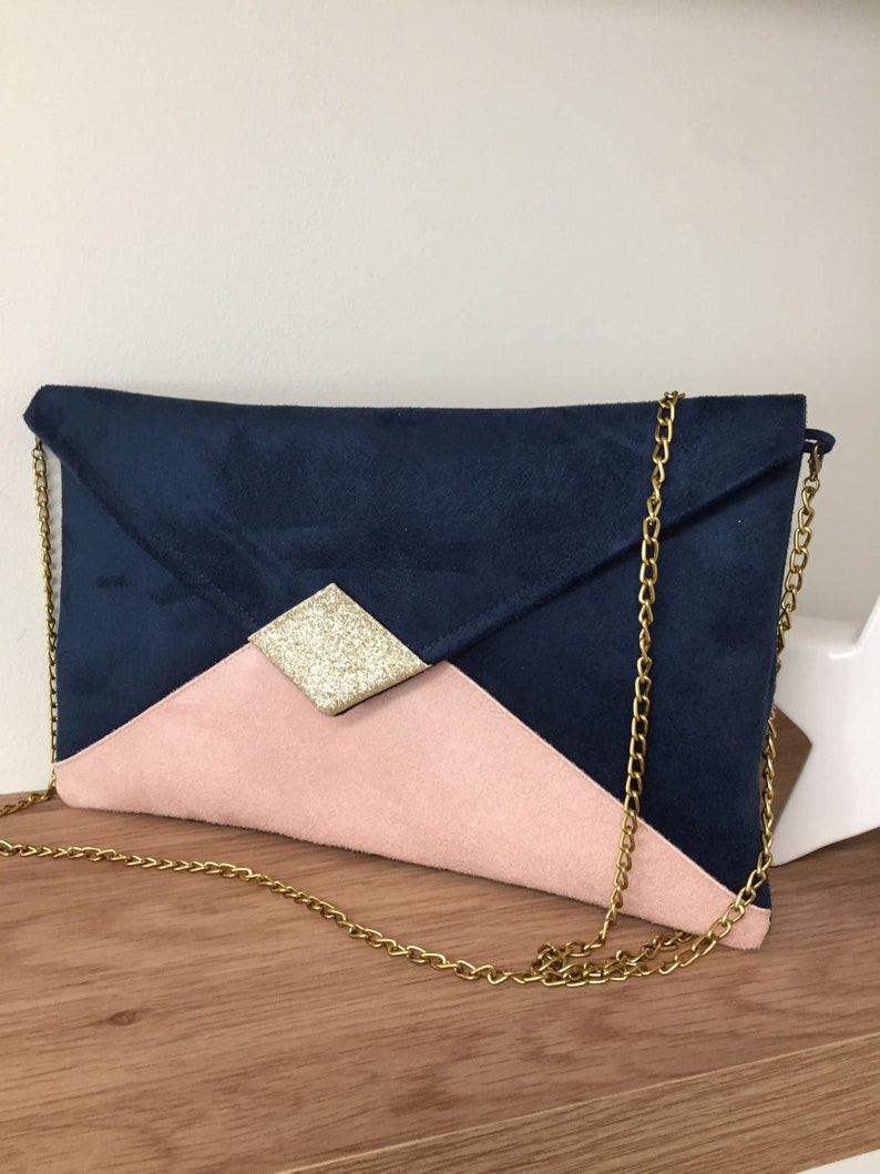 Navy blue and powder pink wedding bag / Evening bag with gold image 0