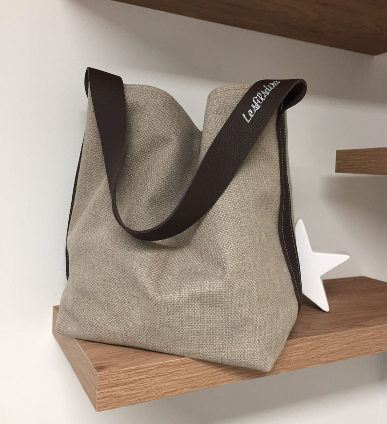 Bucket bag pure linen putty brown leather handle / Tote bag image 0