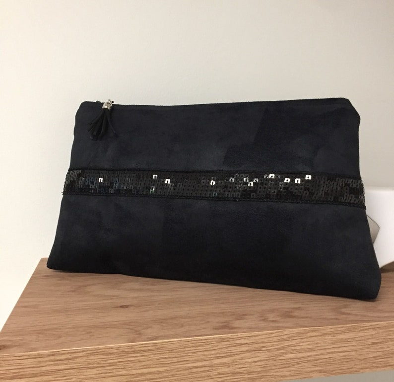 Black evening clutch bag with Vanessa Bruno sequins / Sequin image 0