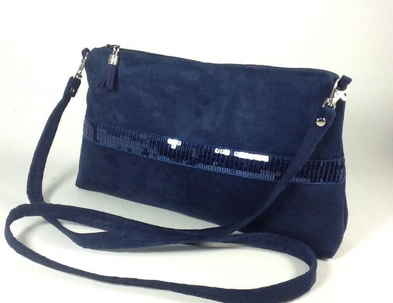 cce4de1d9d Navy blue sequined shoulder bag   Small night blue handbag in