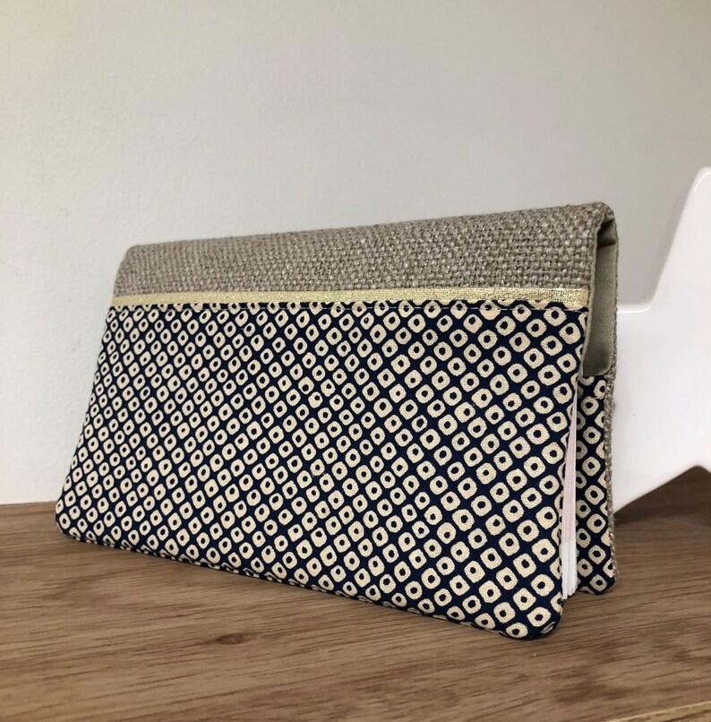 Shibori and linen Japanese fabric checkbook holder / Beige and image 0