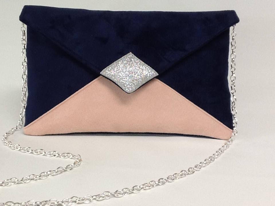 pochette de soir e mariage en su dine bleu marine et. Black Bedroom Furniture Sets. Home Design Ideas