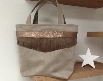 Small taupe, honey and brown tote, fringes and sequins / suede tote bag worn fringed / shopping bag, ethnic, fringes, sequins