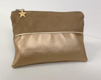 Beige women's wallet in suede, gold-tone, gold border / Women's purse in gold vegan fabric, sequins, star / women's gift