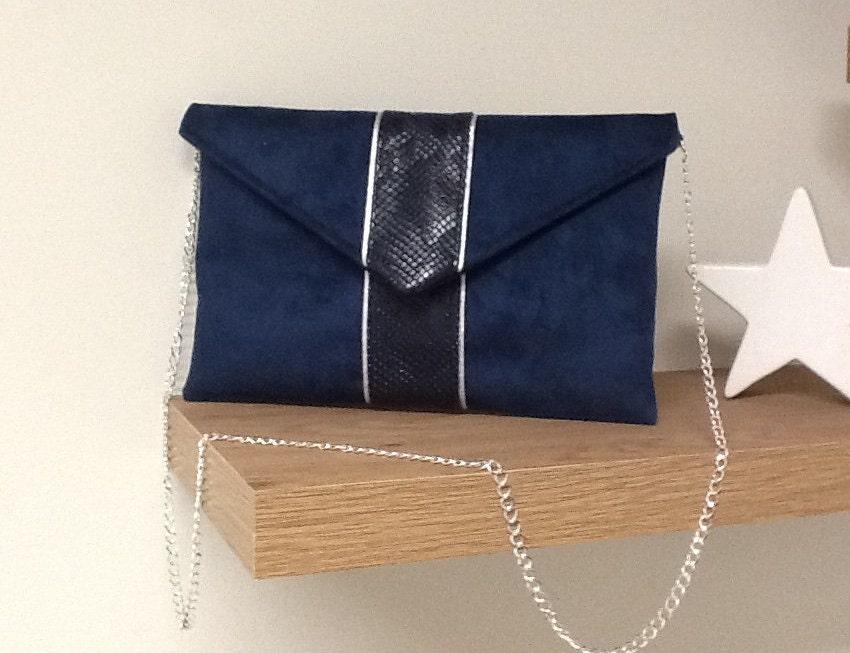 pochette de soir e mariage bleu marine su dine et croco. Black Bedroom Furniture Sets. Home Design Ideas