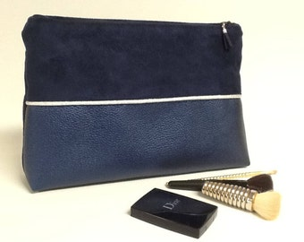 Large Navy Blue makeup pouch and silver, suede and faux iridescent / silver edging and Navy, electric blue makeup pouch