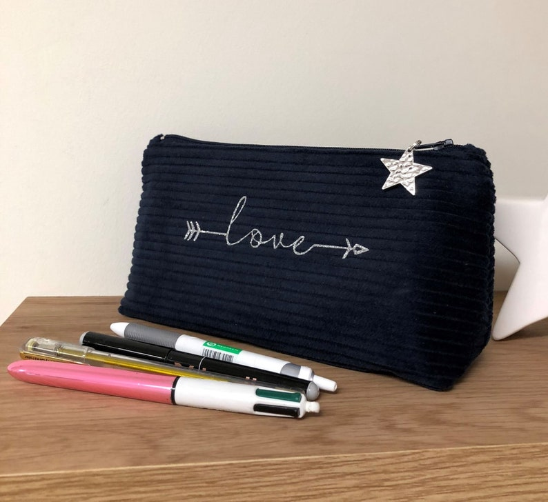 Navy blue school pencil case glitter message and silver star image 0