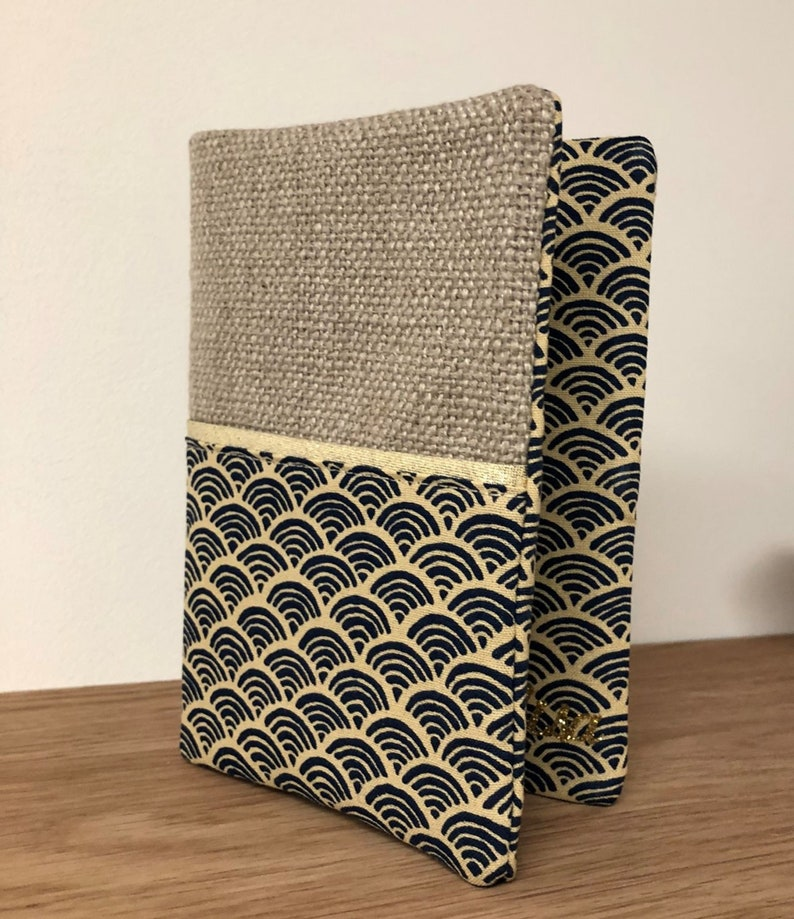 Linen notebook cover Japanese Seikaiha fabric small waves / image 0
