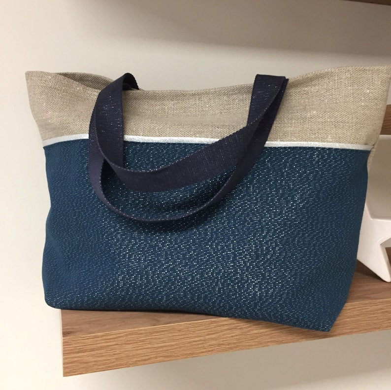 Large tote bag in linen navy blue glitter fabric / image 0