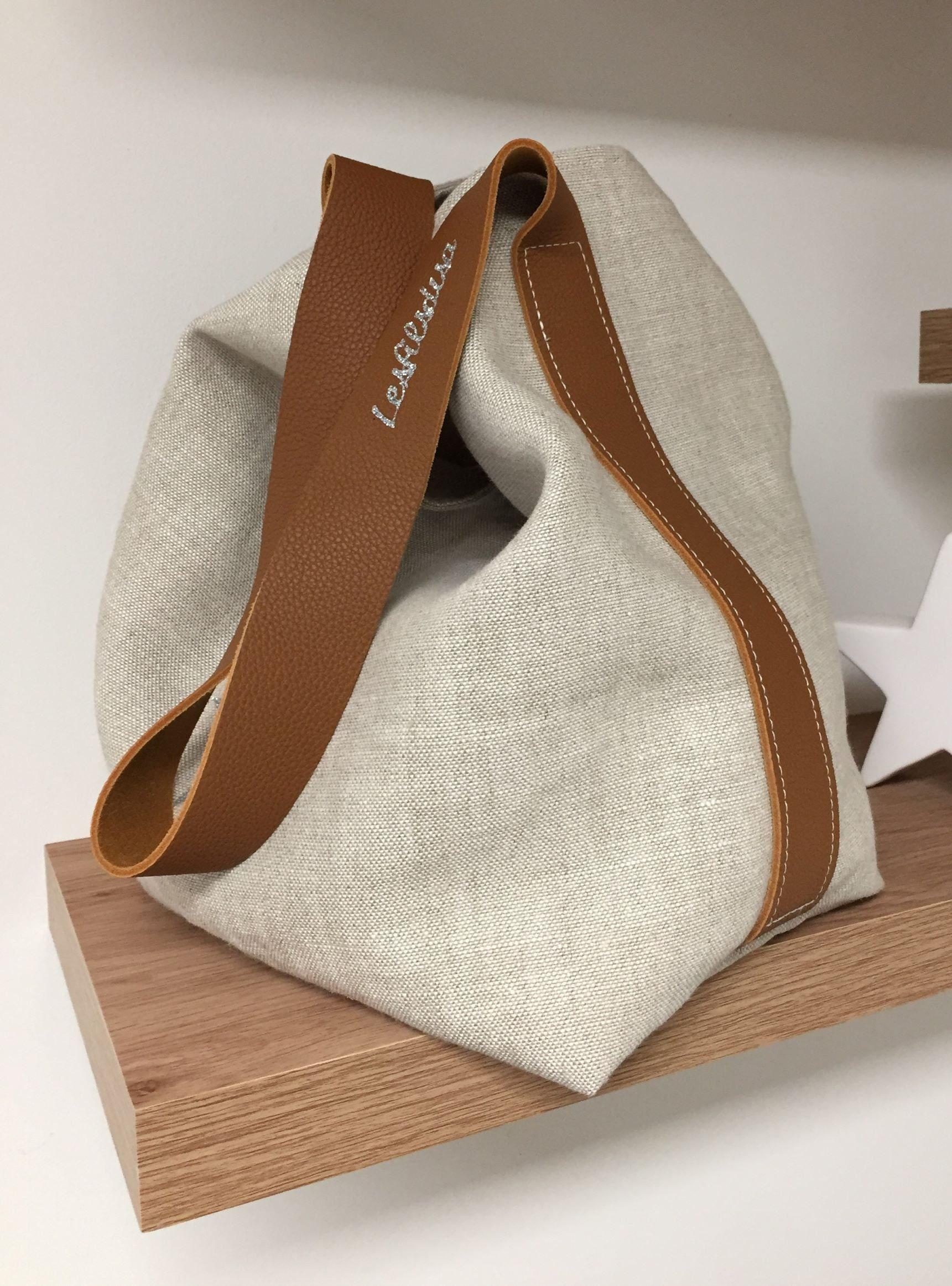 6063771e8e Sac seau en cuir fauve et lin beige naturel / Tote bag en pur lin style  sportswear avec anse cuir souple / sac cabas pour femme casual