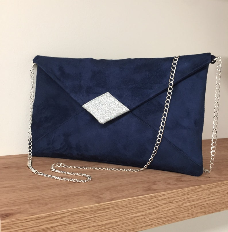 Evening bag in navy blue suedette and silver spangles with image 0
