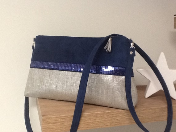 d3ff765859 Removable shoulder bag navy blue and iridescent linen
