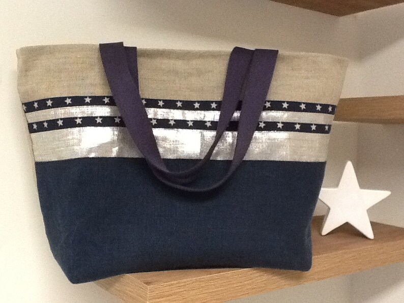 aa5f42840c Cabas lin bleu marine et argenté / Large tote bag bleu nuit   Etsy