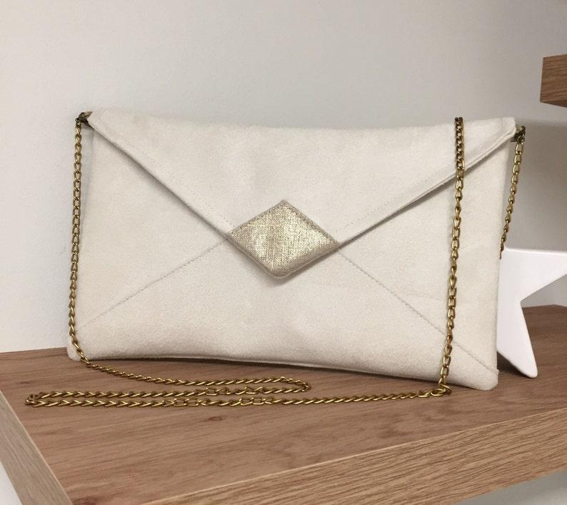 Evening bag in ivory suedette and golden linen with shoulder image 0