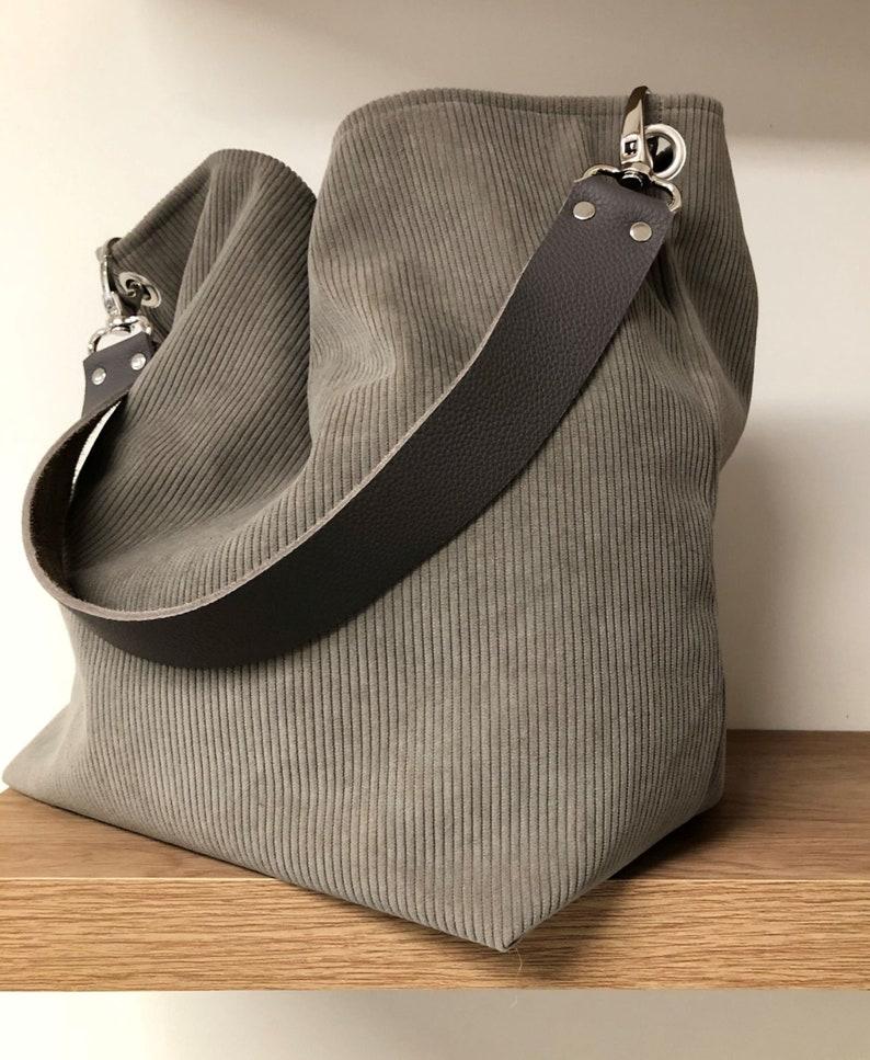 Taupe gray hobo bag removable leather handle / Women's image 0