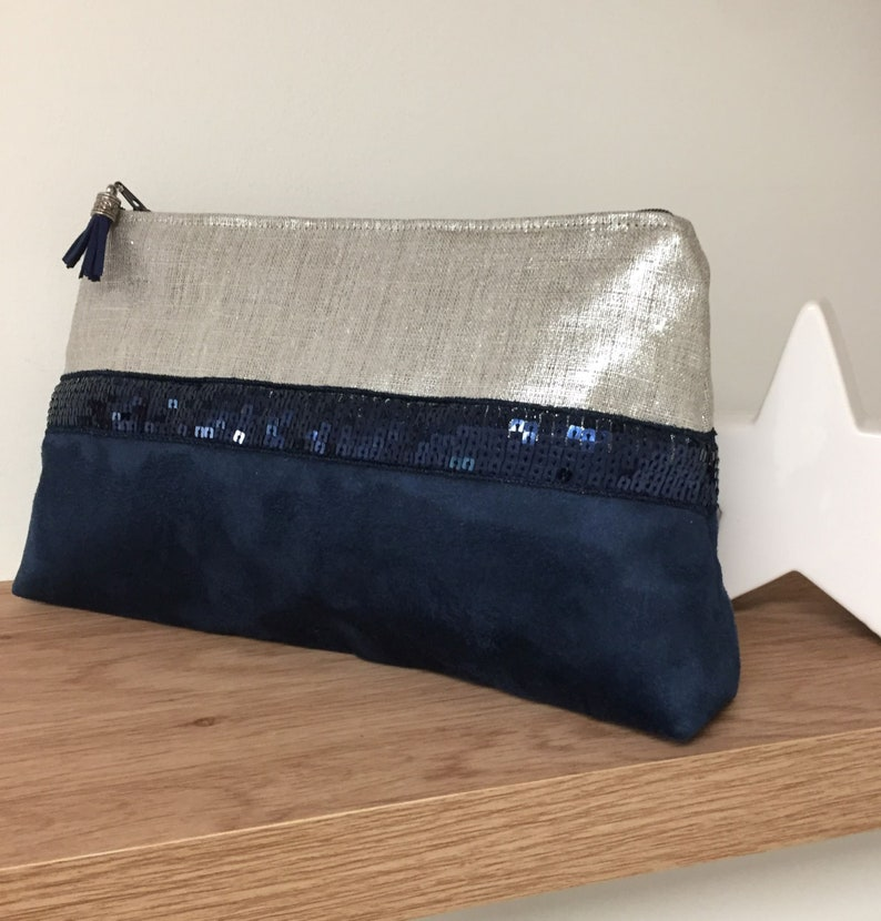 Navy blue and silver evening clutch bag / Linen and suede image 0