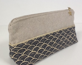 Japanese fabric school kit, gold glitter fabric, gold star / customizable pencil case, navy blue and golden beige, star