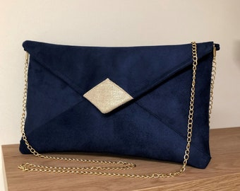 Navy blue and gold wedding clutch bag / Suede and gold linen evening clutch bag, customisable with or without chain / Handbag with chain