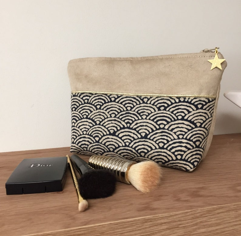 Make-up bag in Japanese and suede fabric / Bag bag beige image 0