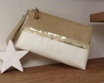 Glitter wedding bag, in  beige suede, and  white vegan leather, golden sequins / large gold sequins evening bag, removable wrist strap