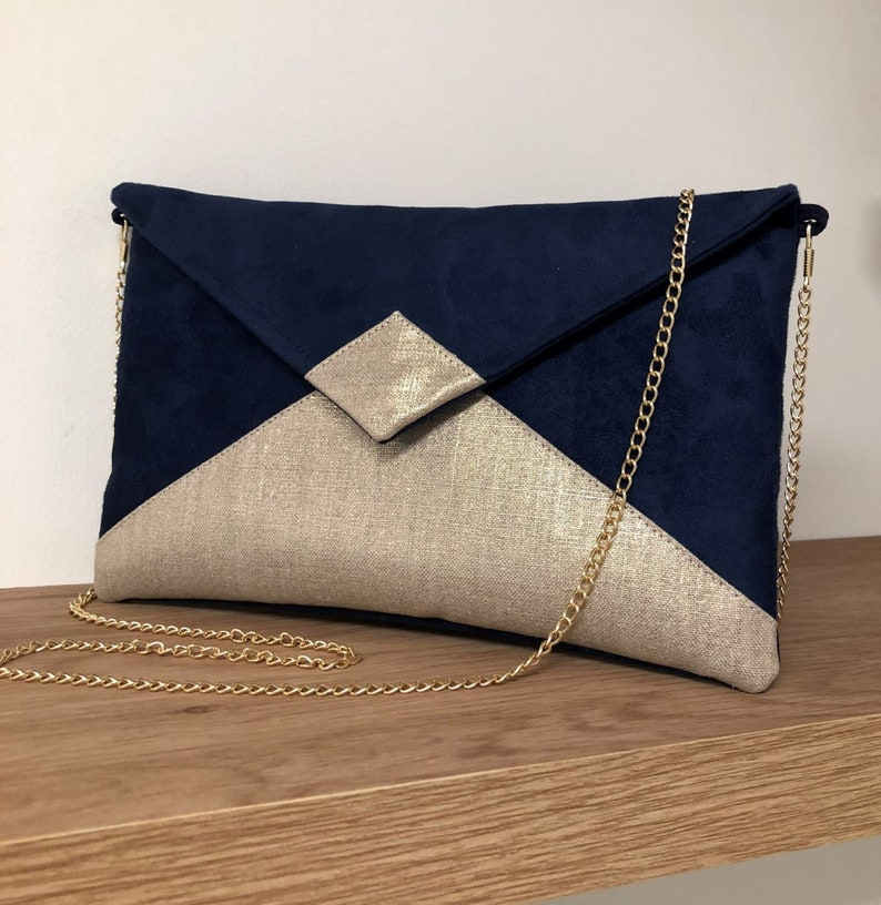 Navy blue and gold linen wedding clutch bag WITH or WITHOUT image 0