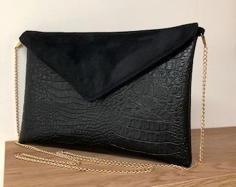 Black evening clutch bag, crocodile leatherette / Envelope flap clutch bag, chain / Suede handbag, imitation alligator leather, to custom