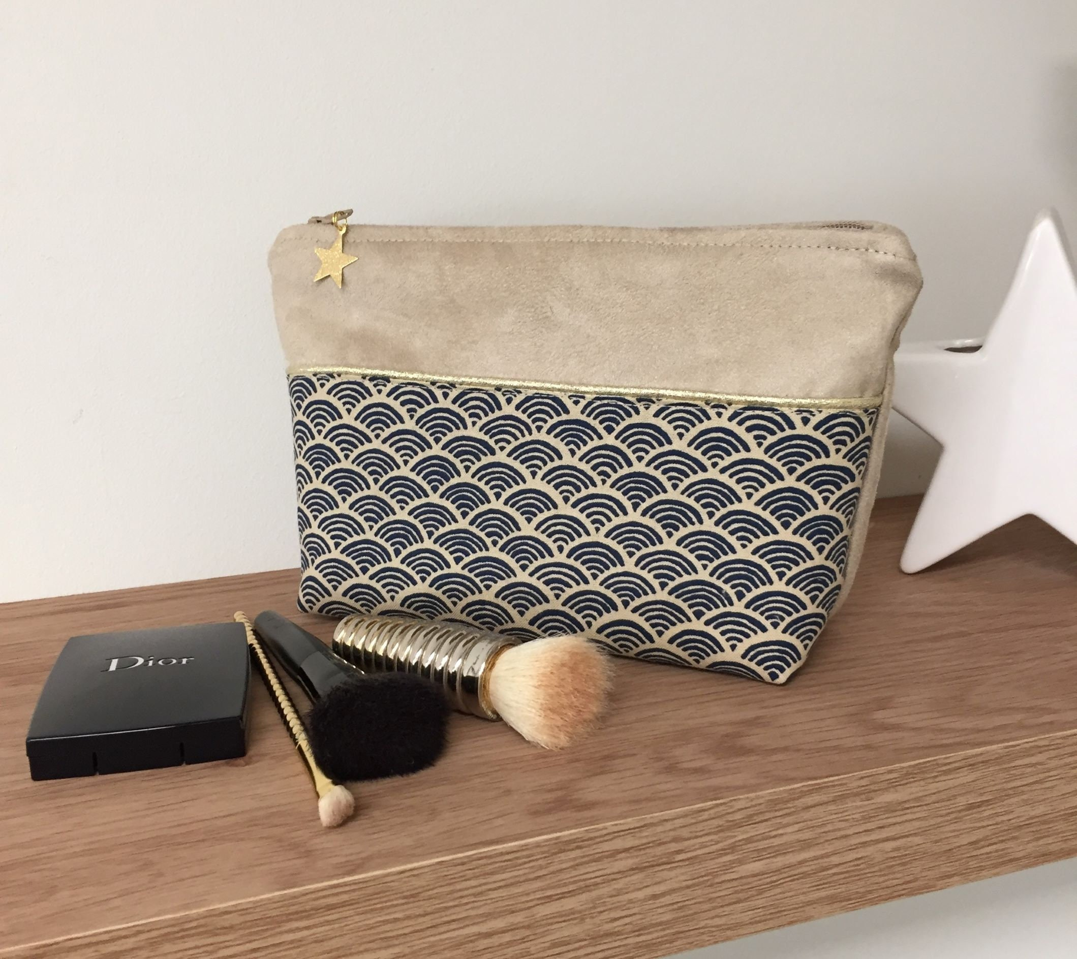 Small wave and suede Japanese fabric bag pouch / Beige, night blue and gold  make-up bag / Zipped pouch, with star / Women's gift
