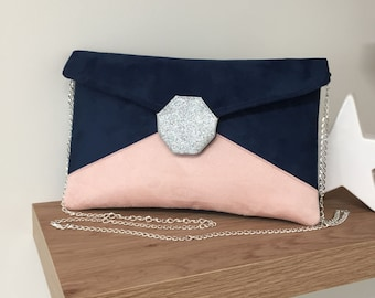 Navy blue, powder pink, silver glitter wedding bag / Customizable suede glitter evening bag / Chain handbag