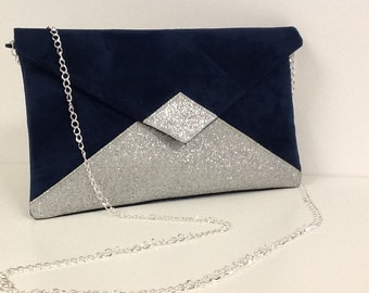 Navy Blue Wedding Pouch in Suede, and Silver Glitter / Envelope Evening Pouch, Sequins, Customizable / Women's Clutch