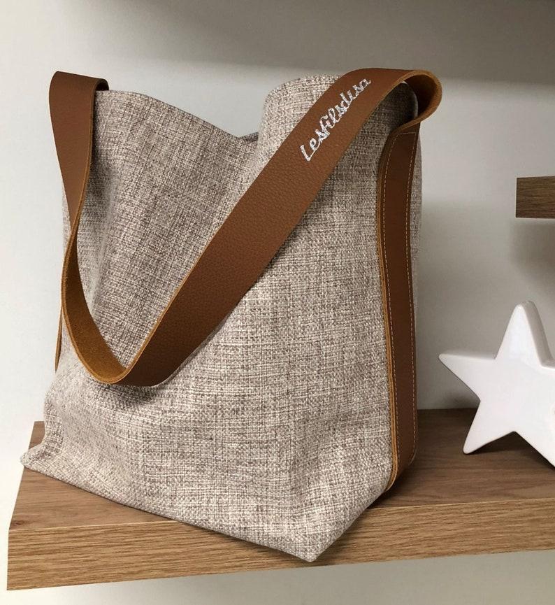 Bucket bag beige mixed linen camel leather / Shopper bag image 0