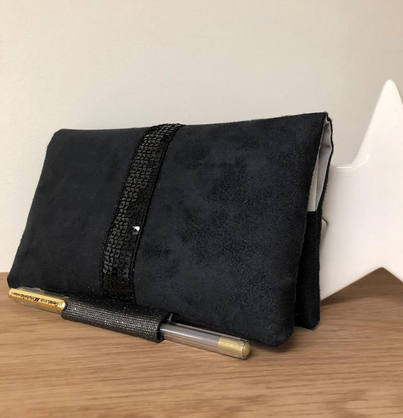 Pen checkbook holder suede and black glitter / Pen checkbook image 0
