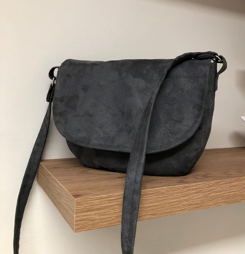 Shoulder bag messenger bag mouse grey suede customizable / image 0