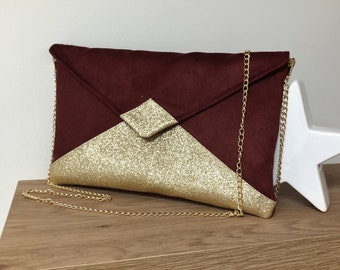 Burgundy wedding clutch bag in suede and gold sequins / Bright red evening clutch bag, envelope shape, gold sequins / wedding bag to custom
