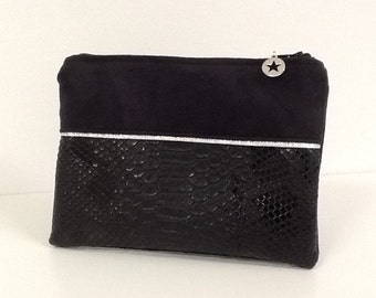 Women's purse, black and silver, croc and suede, star / purse vegan fabric crocodile effect, black and silver / bag accessory / womens gift