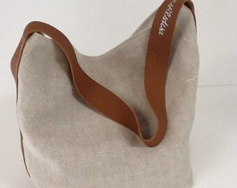 Tote bag, bucket bag, pure beige linen, fawn leather handle, worn on the shoulder / Linen bag, leather, single handle / tote bag linen