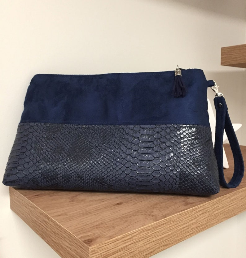 Navy blue wedding clutch bag / Suede and crocodile leather image 0