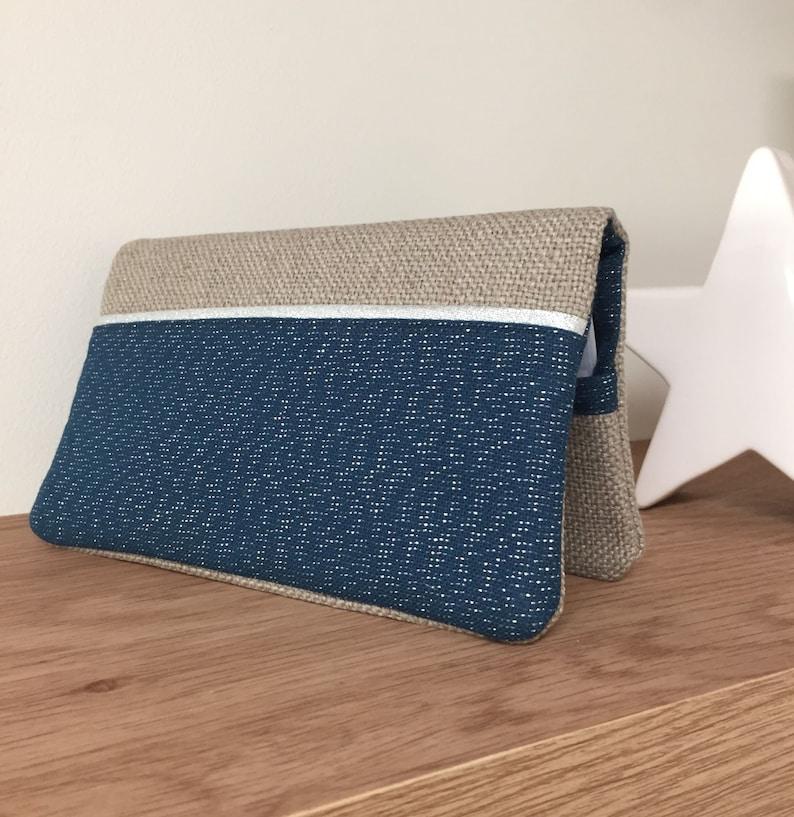 Linen checkbook holder marine fabric lurex silver edging / image 0