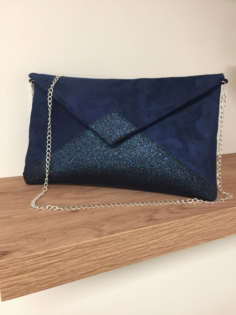 Navy blue wedding bag in suede and sequins / Customizable image 0