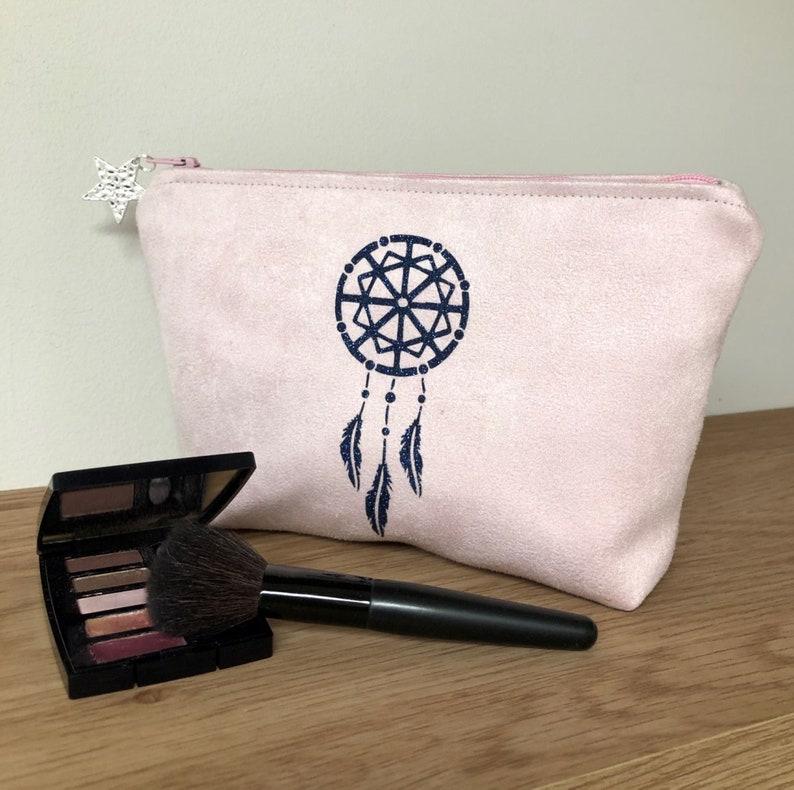 Pastel pink make-up bag navy blue dream catch / Customizable image 0