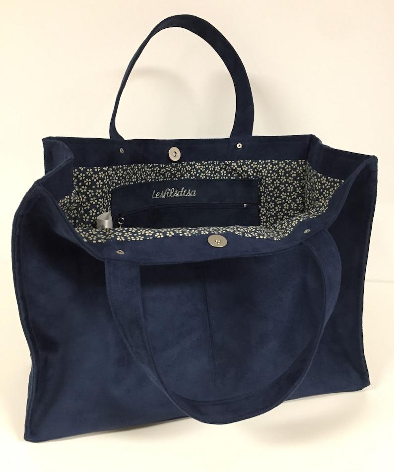 Navy blue suede tote bag / Night blue suede shopper bag image 0