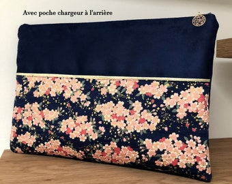 Navy blue and gold computer pouch with charger pocket / Flowered Japanese fabric MacBook case, suede, gold edging / Cherry blossoms