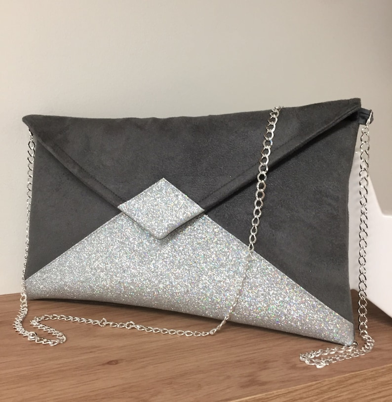 Mouse gray wedding clutch bag in suede with silver sequins / image 0