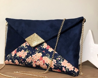 Blue and pink wedding clutch bag, japanese fabric, golden sequins / Customizable evening bag, with or without chain / Cherry tree flowers