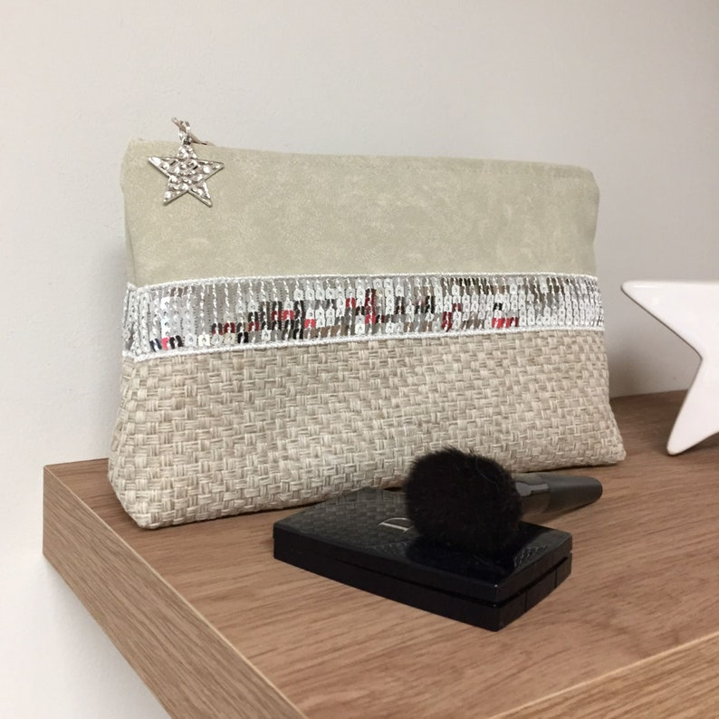 Ivory linen and vegan leather make-up bag / Glitter bag in the image 0