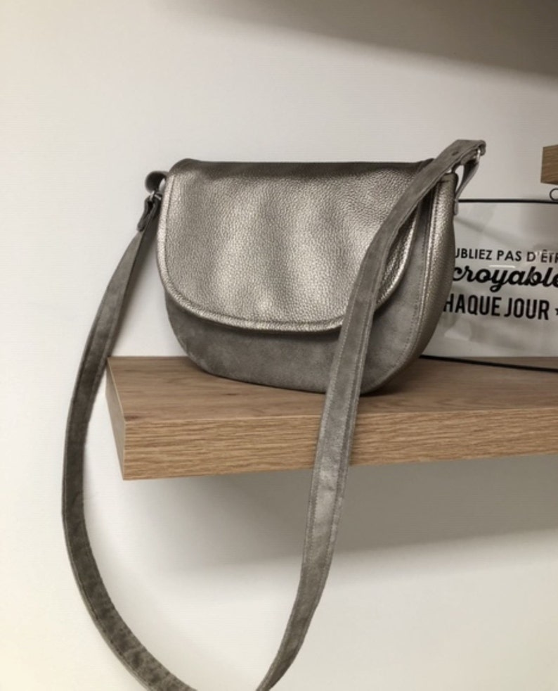 Taupe bag suede and iridescent vegetable leather / Small grey image 0