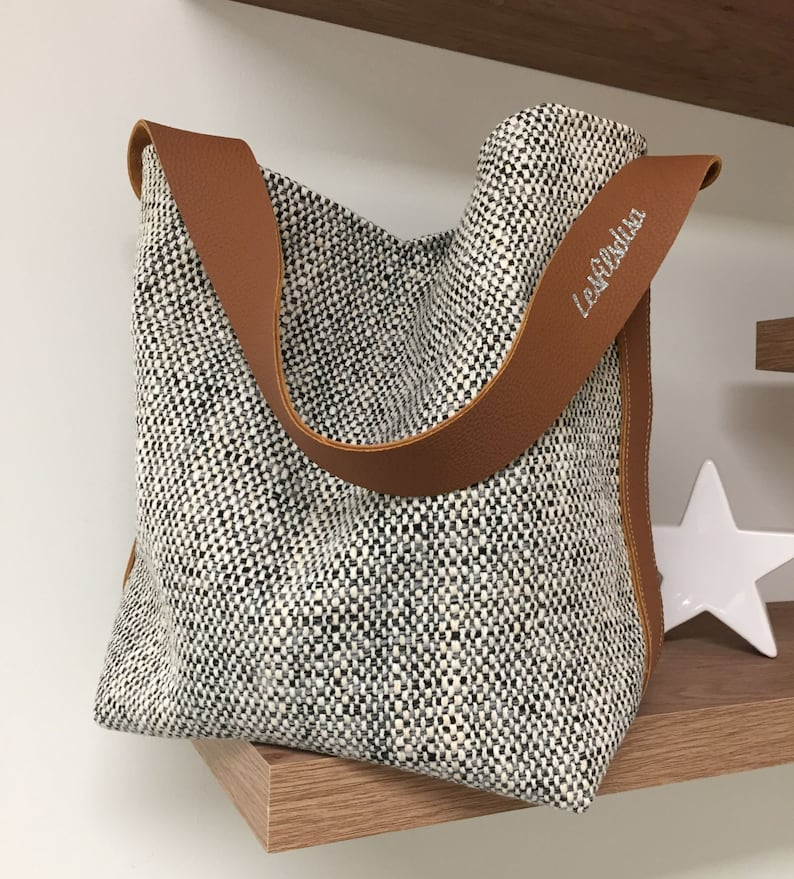 Bucket bag canvas tan leather / Shopper bag ecru black image 0